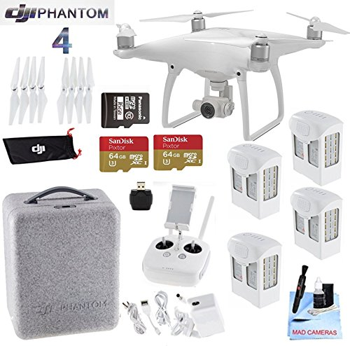 DJI-Phantom-4-Quadcopter-Bundle-with-Pro-Package-Includes-4-Intellegent-In-Flight-Batteries-2-64GB-Micro-SD-Memory-Card