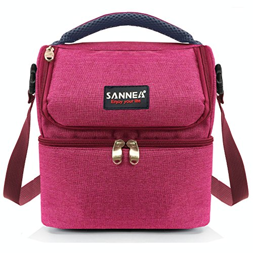 Kinnet Insulated Double Decker Cooler Lunch Box Lunch Bag with Removable Shoulder Strap for Men, Women (Red) -  BAG0102
