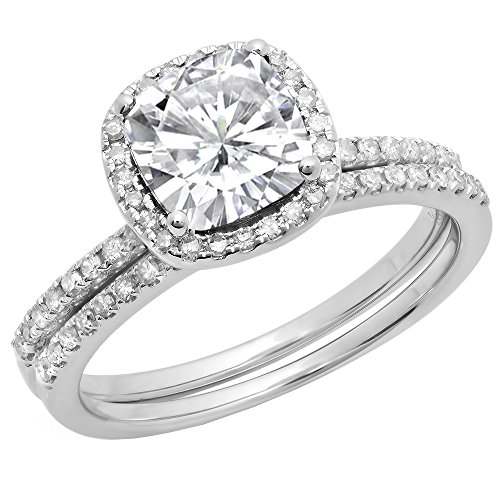 Dazzlingrock Collection 10K 7 MM Cushion Lab Created White Sapphire & Round Diamond Wedding Ring Set, White Gold, Size 6