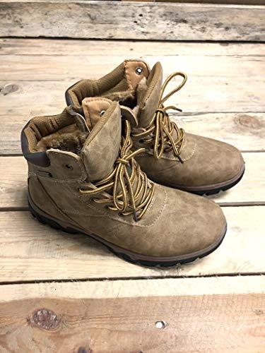 Sneaker 3 Angkorly Moda Basic Tenere Montagna Piatto Rangers A Foderato Pelliccia Escursioni Cm Tacco Piedi Scarpe Caldo Cammello Donna Di wEEx6