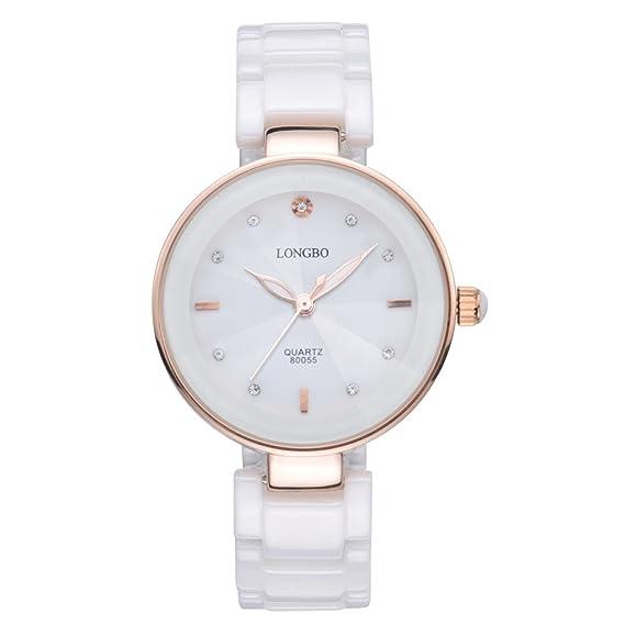 Longbo MUJER lujo cerámica banda pulsera de negocios reloj oro rosa carcasa pulsera muñeca vestido relojes
