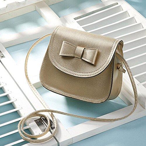 ZARU Arbeiten Sie Frauen Bowknot Leder-Handtasche , einzelner Schulter Gold