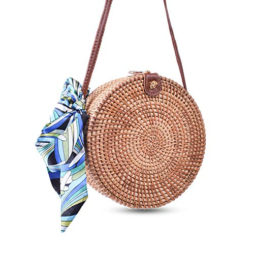 Round Rattan Bags, Heegay Handmade Bali Ata Straw Woven Circle Crossbody Handag for Women with Shoulder Leather -