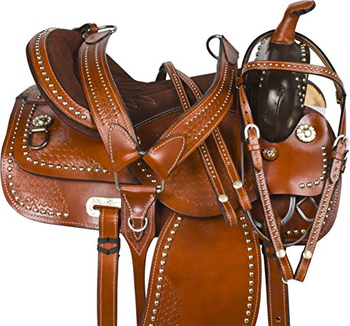 WESTERN PARADE SHOW PLEASURE TRAIL HORSE LEATHER SADDLE TACK SET 15 16 17 18 (16) (Saddle Pleasure Trail Tack)