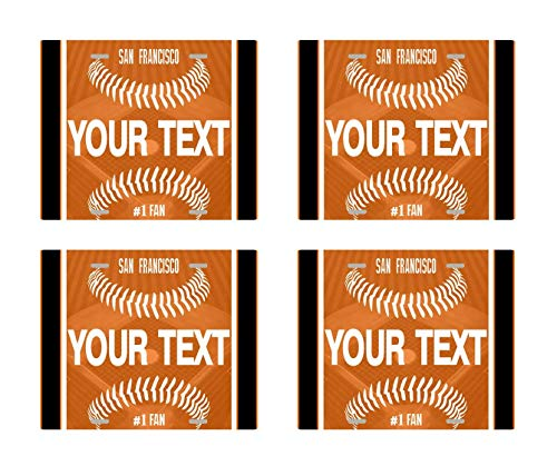 BRGiftShop Personalize Your Own Baseball Team San Francisco Set of 4 Square Beverage Coasters (San Coaster Francisco Giants)