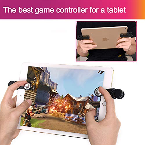 [2 Triggers] PUBG Fortnite Tablet Game Controller - GTOTd Ipad Game Accessories,Slates Game Trigger,L1R1 Sensitive Shoot and Aim,Gift for Kids and Player [New Version] (Black) by GTOTd (Image #2)