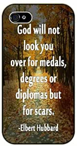 God will not look over your medals, degrees or diplomas - Elbert Hubbard - Bible verse IPHONE 5C black plastic case / Christian Verses