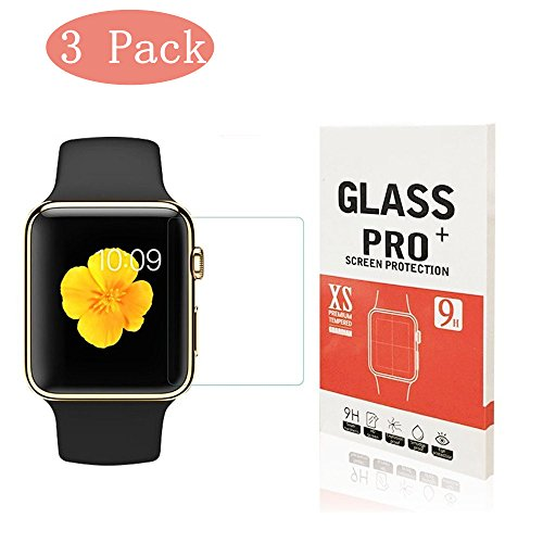 [3-Pack] Apple Watch 38mm Tempered Glass Screen Protector, Linboll - [Only Covers the Flat Area] Anti-Scratch, 9H Hardness, Bubble Free Screen Protector for Apple Watch 38mm