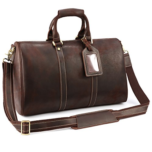 Kattee Vintage Leather Weekender Duffel Bag Travel Luggage Bag by Kattee