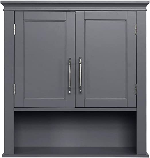 Amazon Com Ssline Gray Bathroom Wall Cabinet Classic Wooden Medicine Cabinet Wall Mounted Kitchen Storage Cabinets Space Saving Organizer With Two Doors And Open Shelf Kitchen Dining