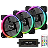 KZYEE 3-Pack Wireless 120mm RGB LED Fans, Dual Light Loop Quite Edition High Airflow Adjustable Color LED Case Fan with Remote Control for Gaming PC Cases