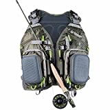 Elkton Outdoors Universal Fit Fly Fishing Vest Backpack With Hard Shell Storage Compartments and Rod Holders/Fly Fishing Vest Pack/Fishing Vest Mesh