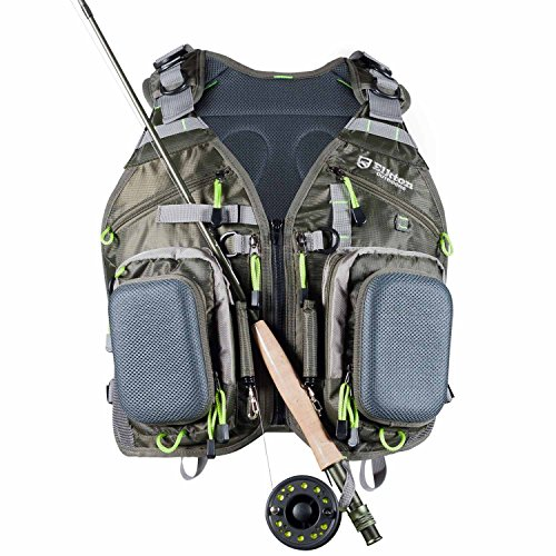 Elkton Outdoors Universal Fit Fly Fishing Vest Backpack with Hard Shell Storage Compartments and Rod Holders (Best Fly Fishing Vest)