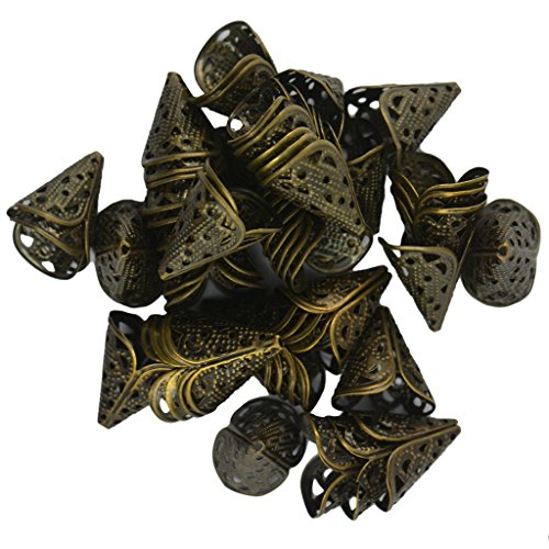 BARGAIN HOUSE 50 pcs 16 mm filigree hollow cone flower bead cap vintage bronze