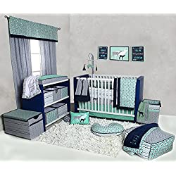 Bacati Noah Tribal 10 Piece Nursery-in-a-Bag Cotton Percale Crib Bedding Set with Bumper Pad, Mint Green/Navy