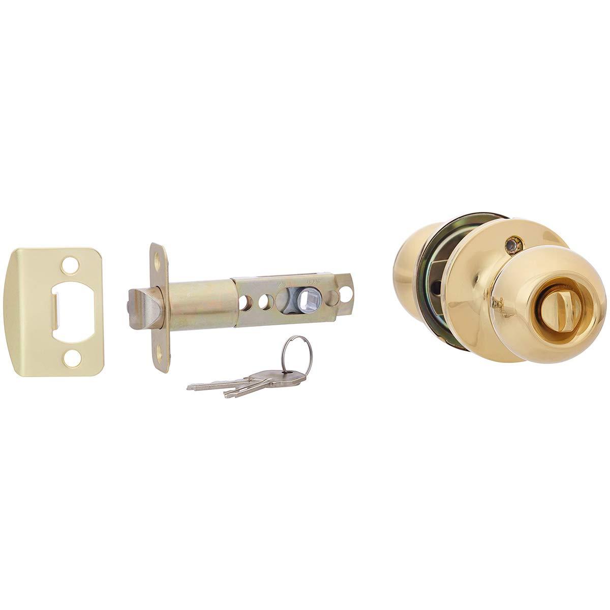 AmazonBasics Entry Door Knob - Standard Ball - Polished Brass by AmazonBasics (Image #3)