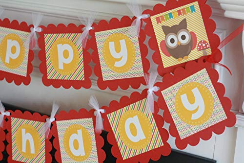 Happy Birthday Colorful Owl Frog Caterpillar Forest Creature Animal Gold Yellow Green & Red Stripe Chevron Theme Banner - Many Matching Items Favor Tags, Signs, Cupcake Toppers -