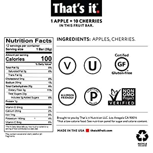That's it. Apple + Cherry 100% Natural Real Fruit Bar, Best High Fiber Vegan, Gluten Free Healthy Snack, Paleo for…