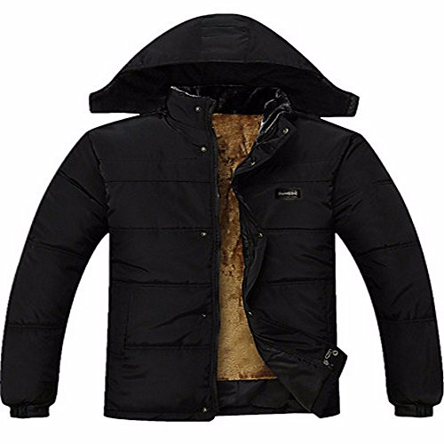 ZHUDJ Men's Regular Padded Coat,Simple Plus Size Casual/Daily Solid-Rayon Polyester polypropylene Long Sleeves Black