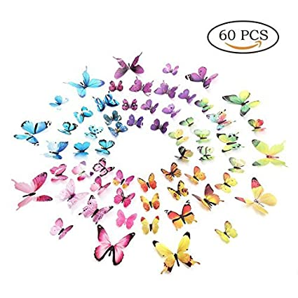 Amazon.com: Amaonm 60 Pieces 5 Colors Removable 3D Butterfly Wall ...