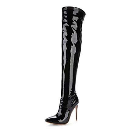 e8383b132cb Amazon.com  ODOKAY Women s Long Boots Thigh High Stiletto Boots Sexy Over  The Knee Boots Patent Leather Fashion Shose  Sports   Outdoors