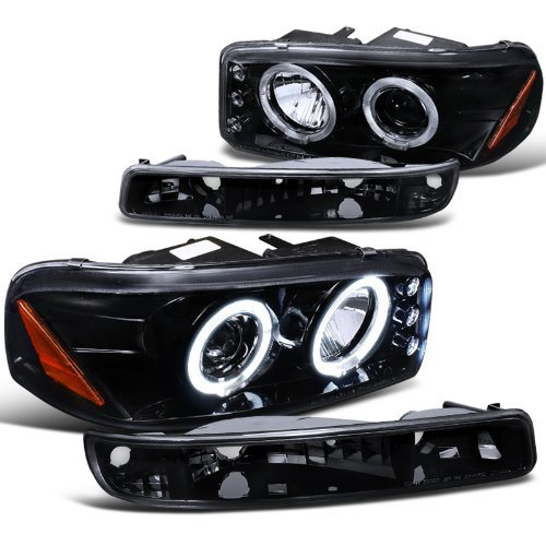 gmc-sierra-sl-sle-denali-proj-halo-led-headlights-bumper-lights-smoke
