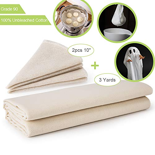 Cheesecloth,100% Unbleached Cotton Fabric,Reusable,Ultra Fine Cheesecloth for Cooking, Nut Milk Bag,Strainer, Baking, Hallowmas Decorations (cheese cloth Grade 90 3 Yards and 2pcs 10