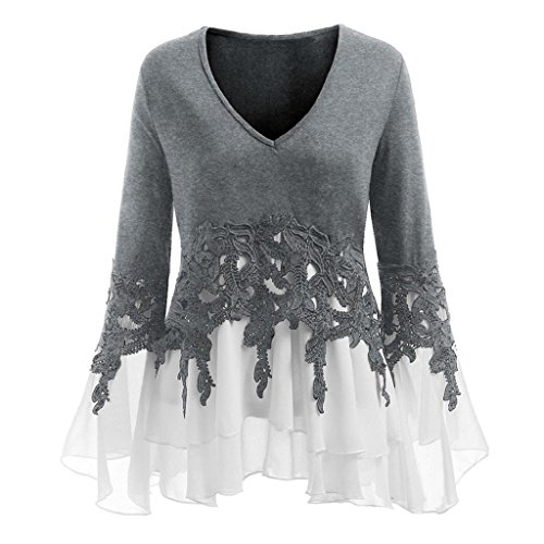 HGWXX7 Women's Fashion Plus Size V Neck Long Sleeve Chiffon Blouse Shirt Tops (4XL, (New Embroidered Lace Bra)
