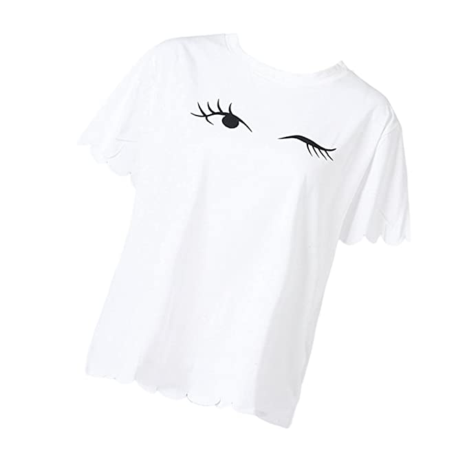 D DOLITY Camiseta Ojos Parpadeantes Mangas Cortas Maternidad Mujer Ropa Embarazo Ayuda Cómoda - Blanco,