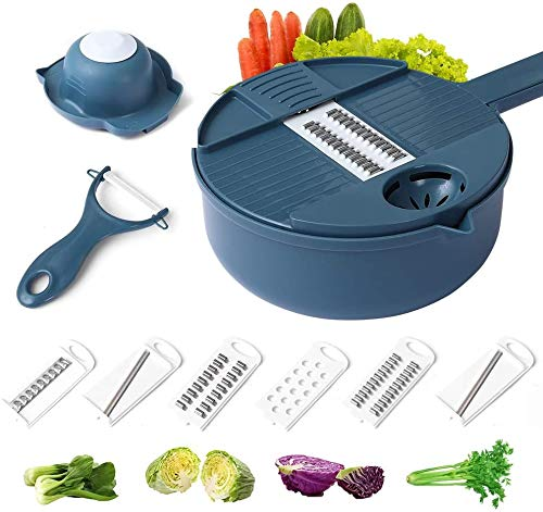 Vegetable Spiralizer Slicer and Grater Multi-function Chopper with Container and Egg white Separator, 12-In-One Manual Tool Food Processor(Dark Blue)