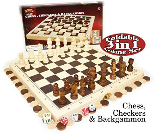 Nice Homeware 3-in-1 Chess, Checkers and Backgammon Foldable Travel Wooden Game Set supplier