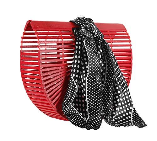 Handwoven Bamboo Bag Clutch Handbag Summer Beach Purse (red)