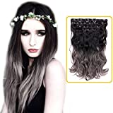 """Creamily(TM) Natural Black To Dark Grey For Full Head Synthetic Clip In Hair Extensions Curly Accessories 8 Pieces 18"""" 3-Tone Ombre Colored"""