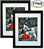 "11x14 Inch Picture Frame Black (2-pack) - Glass Front Cover - Displays an 11 by 14"" Picture w/o Mat or an 8x10 Photo with Mat - Vertical or Horizontal Mounts & Easy To Hang - No Hardware to Install"