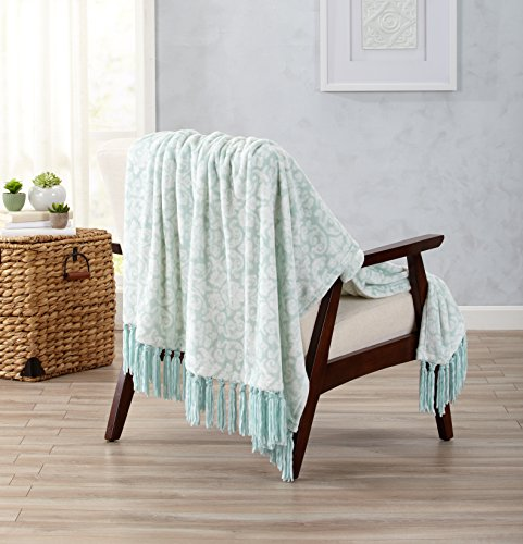 Ultra Velvet Plush Super Soft Blanket with Printed Pattern. Lightweight, Warm Throw Blanket with Decorative Fringe. Katrina Collection By Home Fashion Designs Brand. (Harbor Blue) Green Floral Blanket