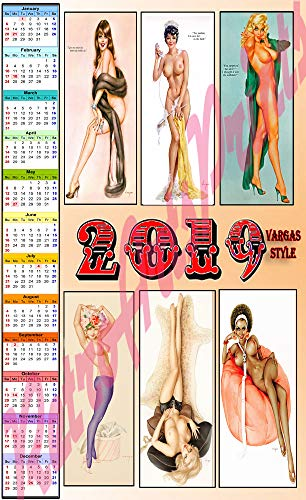 Sexy 2019 Calendar Featuring 6 Color Vargas Girls Topless 11