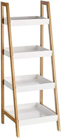 Estantería de 4 baldas nórdica blanca de bambú para cuarto de baño Basic - Lola Derek: Amazon.es: Hogar