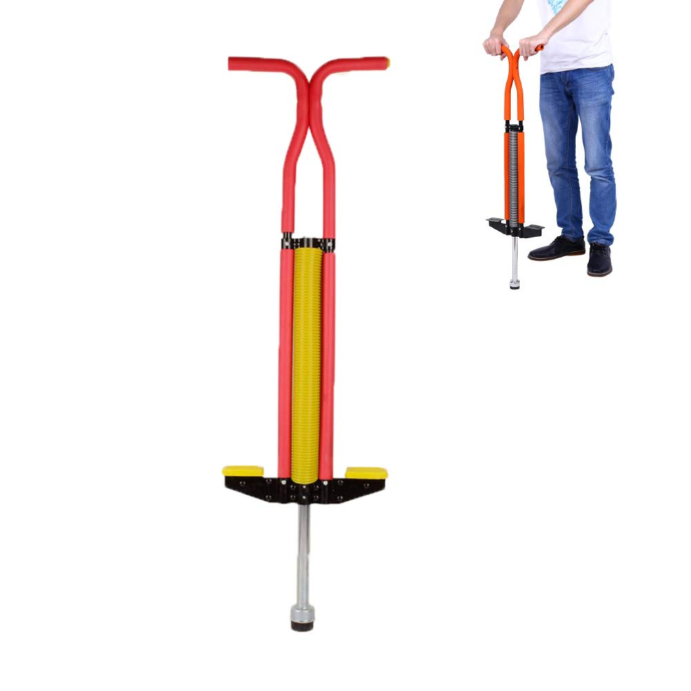 Pogo Stick Bouncing Sticks of and Sturdy Construction from 80lbs to 160lbs Weight for Adults and Children,Red