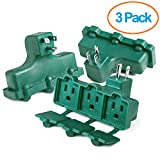 ClearMax 3 Outlet Heavy Duty Indoor Outdoor Power Splitter with Outlet Covers (Green - 3 Pack)