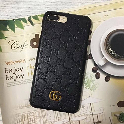 iPhone7/8 Plus --US Fast Deliver Guarantee FBA-- Luxury PU Leather Style Case Cover for Apple iPhone 7 Plus iPhone 8 Plus Only (Black Monogram) (Coach Iphone Case)