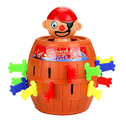 (SYUDY Pirate Barrel Game, Pirate Funny Barrel Novelty Toy Bucket Lucky Stab Toys Game, Adult Kids Pirate Bucket Tricky Toy Party Game)