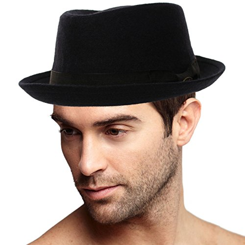 Stingy Brim Fedora Trilby (Men's Winter 100% Wool Porkpie Derby Fedora Trilby Ribbon Solid Hat L/XL)