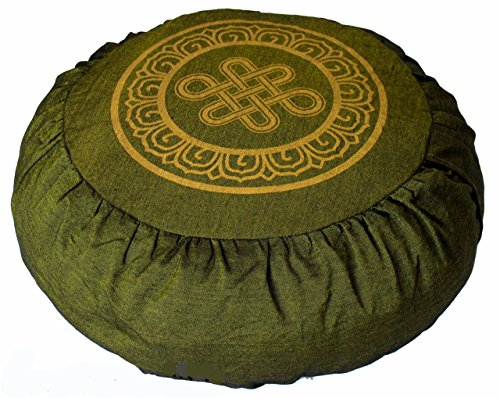 "Meditation Cushion Zafu Pillow ""Eternal Knot"" Olive Green"