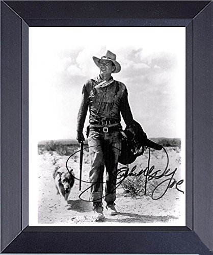 John Wayne And The Dog In Hondo Framed Print 14 x 17 (Framed John Wayne Posters)