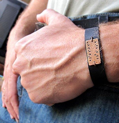 b6243e13fc317c Men's Personalized Leather Bracelet, Coordinate Cuff Bracelet for Men -  Custom GPS Accessory - Custom Mens Wristband - Men's Gifts - Personalized  Mens ...
