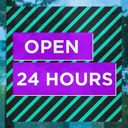 Open 24 Hours 5-Pack 24x24 Modern Block Window Cling CGSignLab