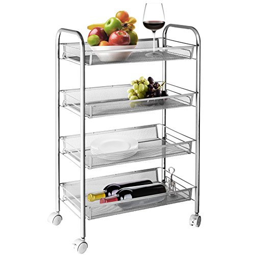 Wire Open Cart (4-Tier Rolling Wire Shelving Utility Storage Rack with Wheels, Slimline Utility Organizer)
