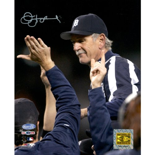 MLB Jim Leyland 2006 ALDS Celebration Carry Off Vertical Autographed 8-by-10-Inch Photograph
