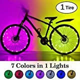 HOOMIL (1 2-Tire Pack LED Bike Wheel Lights 7 Colors in 1 Light Waterproof RGBW LED Bicycle Wheel Lights Ultra Bright Tire Spoke Light Bike Decorations Lights Wheels