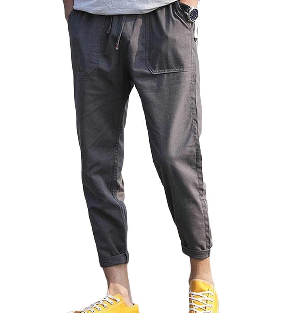 Hajotrawa Mens Casual Harem Straight Elastic Waist Washed Sport Pants